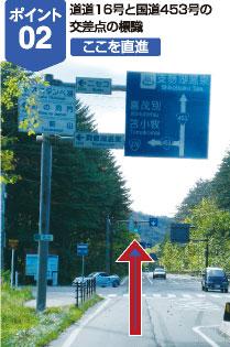 道道16号と国道453号の交差点の標識、ここを直進