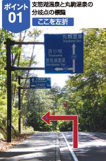 支笏湖温泉と丸駒温泉の分岐点の標識、ここを左折
