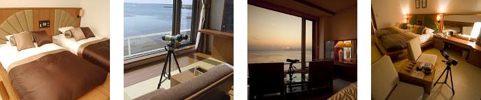ベッド・フィールドスコープ・夕焼け・客室内